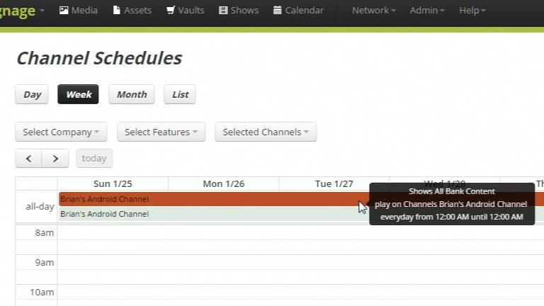Codigo Calendar functionality for scheduling media